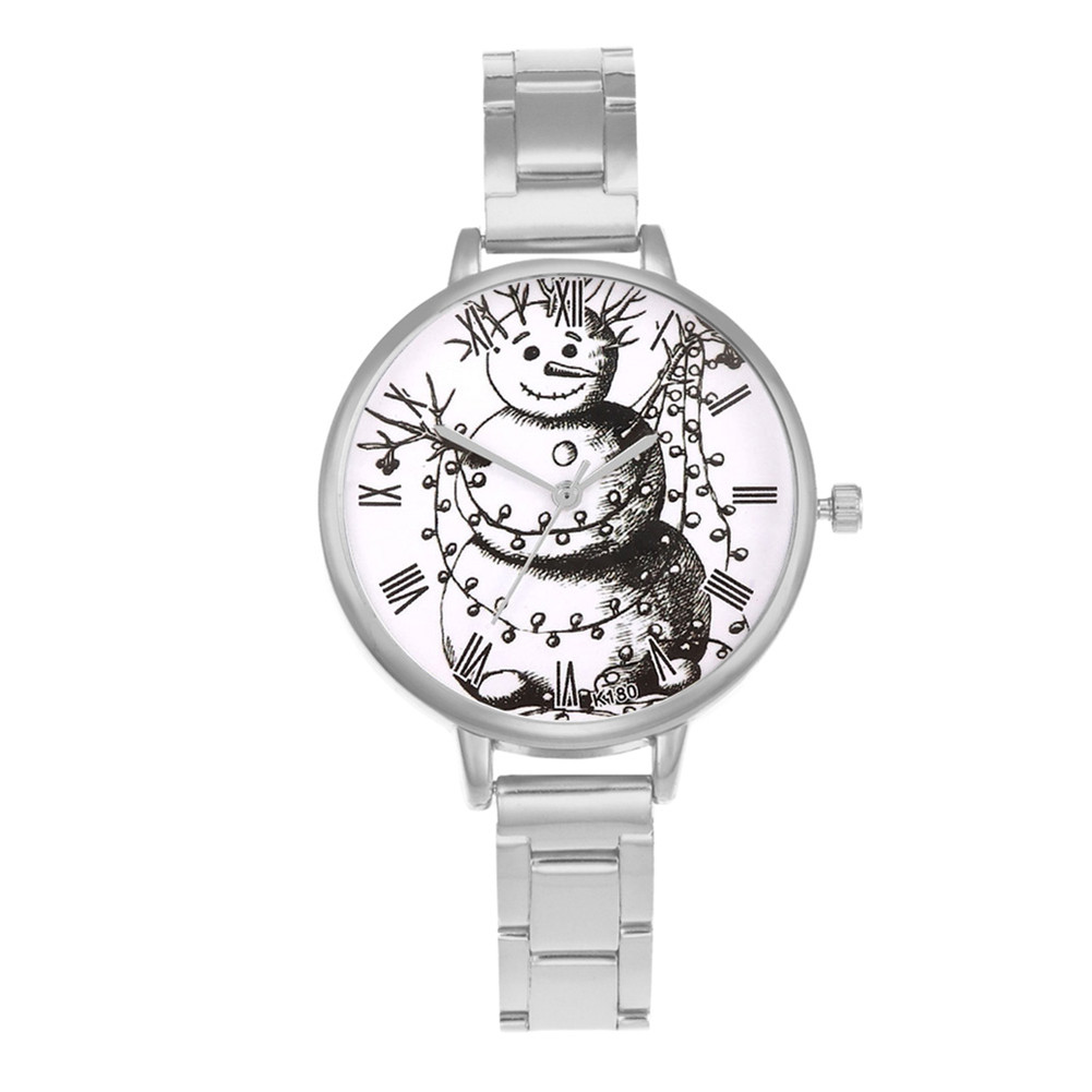 Christmas Quartz Watch Alloy Strap Round Dial Watches Gifts Women Watches With Snowman Printing LL@17
