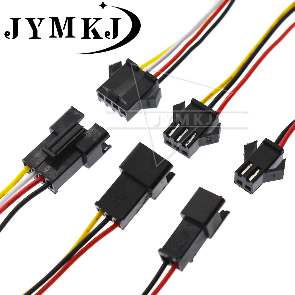 10PCS 20cm Long JST SM 2.54MM Connector Terminal Wire 2 3 4 5 6 Pin Plug Male To Female Splice Wire Connectors 26AWG 300V 80C