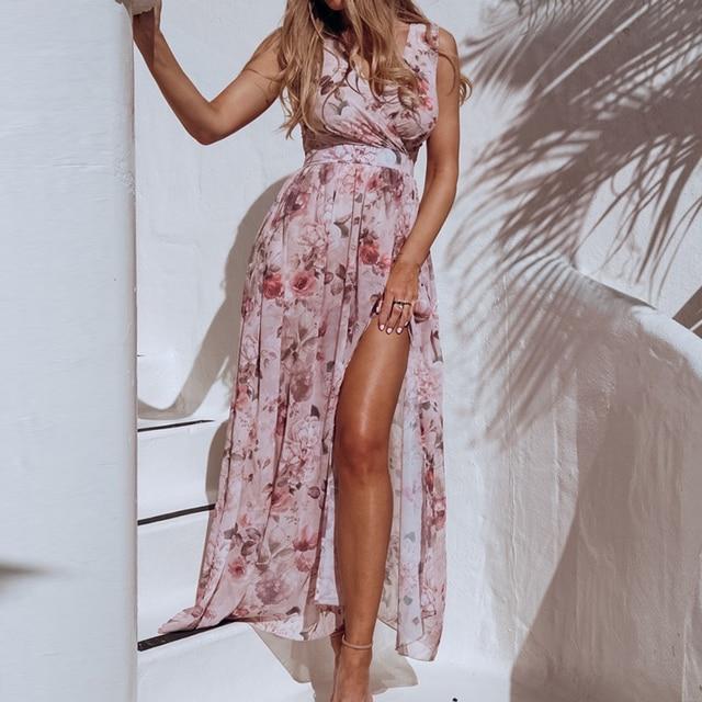 Women V Neck Split Dress Floral Print Long Summer Spaghetti Strap Party Pink Chiffon Elegant Casual Maxi Dresses Beach 3