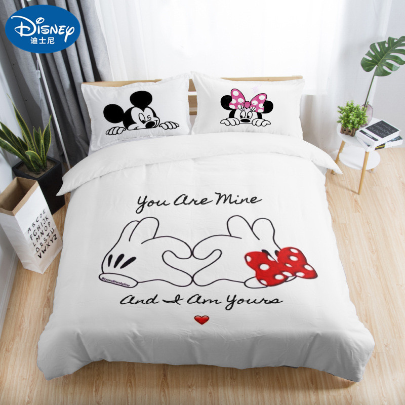 3pcs Black White Bedding Set Mickey Minnie Duvet Cover Home Textile Couple Wedding Quilt Set Adult Double Bedding Sheets Gift Bedding Sets Aliexpress