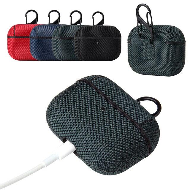 نسيج القماش الجلد حقيبة سماعة الاذن ل AirPods برو 3 اللاسلكية سماعة رأس مزودة بتقنية البلوتوث غطاء المحمولة مكافحة بصمة الرجعية كم حقيبة