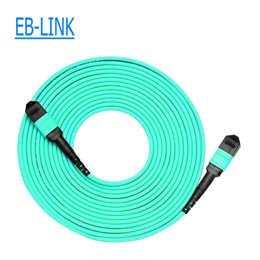 15 метров женский MPO/MTP MPO женский OM3 12 нитей 12 ядро волоконно оптический кабель для QSFP + SR модуль Type B AQUA 50/125um