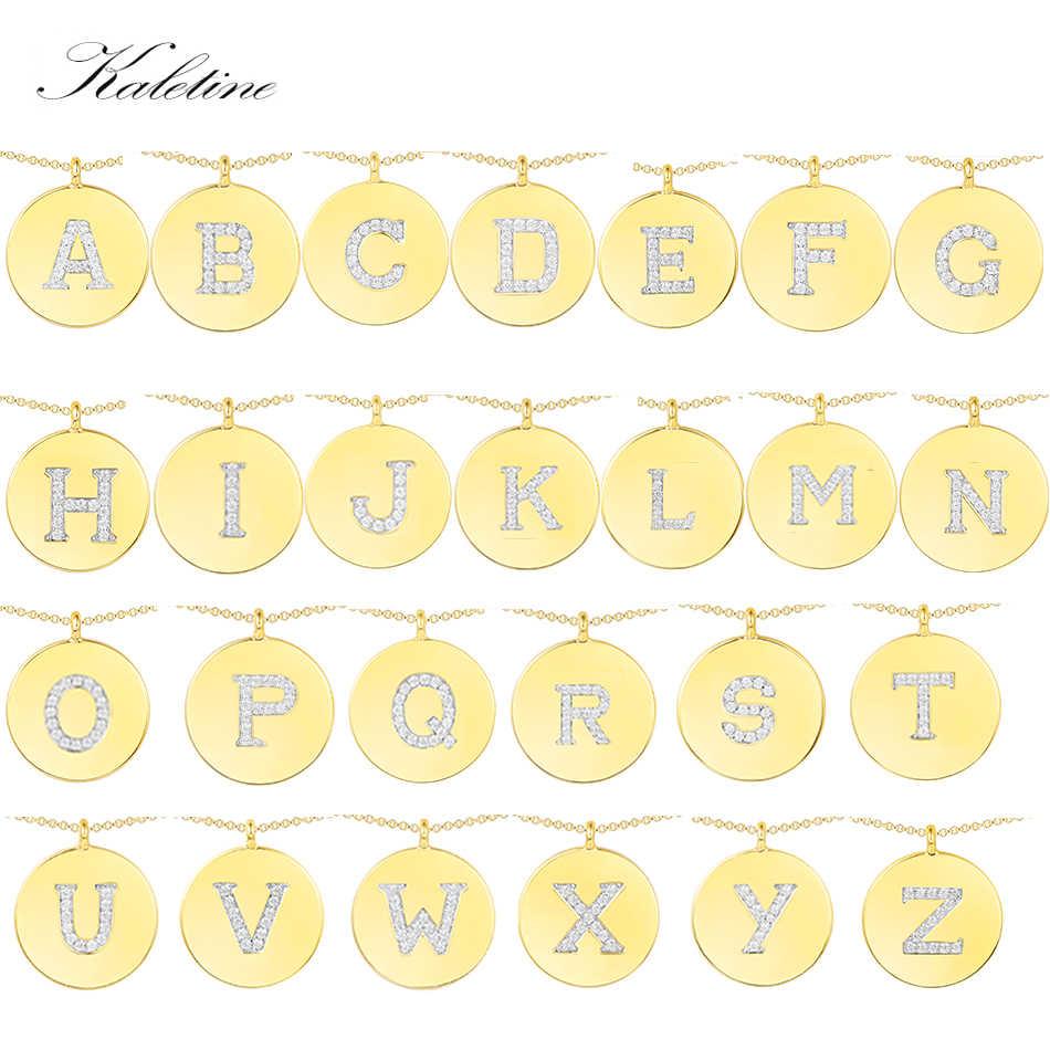KALETINE 925 argent Sterling petites lettres colliers pour femmes/fille initiale pendentif couleur or mince chaîne anglais lettre bijoux