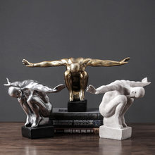 Retro Diving Athlete Resin Craftwork Sculpture Creative Living Room Office Desktop Decor Statue Birthday Gift