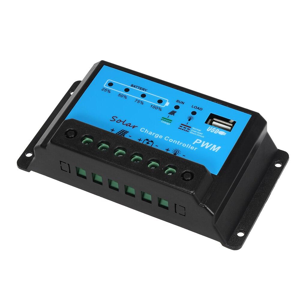 Contrôleur de Charge solaire USB 5V 10A contrôleur de batterie de panneau solaire régulateur Intelligent PWM 12 V/24 V