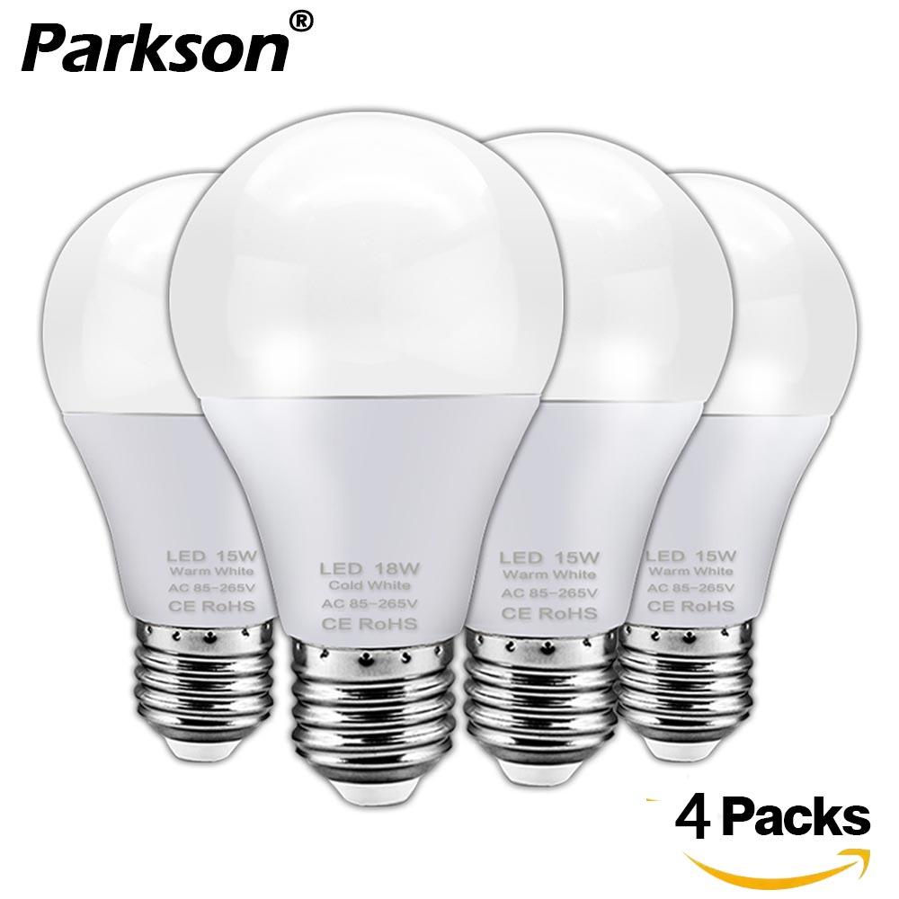 4pcs Lampada E27 LED Light Bulb 18W 15W 12W 9W 6W 3W 220V 240V Ampoule Bombillas LED Lamp Spotlight Cold Warm White