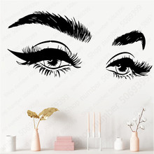 New Arrivels Beautiful Eyelashes Eye Vinyl Wall Sticker Decal Modern Home Decor Art Salon Girls Eyes Eyebrows Decals LW584