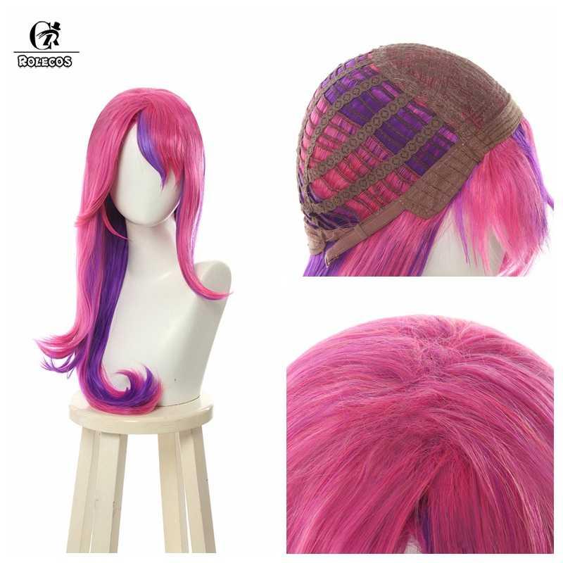 ROLECOS LOL Star Guardian Xayah парик косплей головной убор Rebel парики Длинные розовые фиолетовые волосы уши термостойкие синтетические волосы