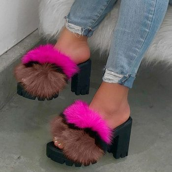 Sexy Party High Heel Sandals Fur Women's Shoes 2020 Stripper Heels Shoes Platform Furry Night Club Shoes Plus Size Woman Sandals image
