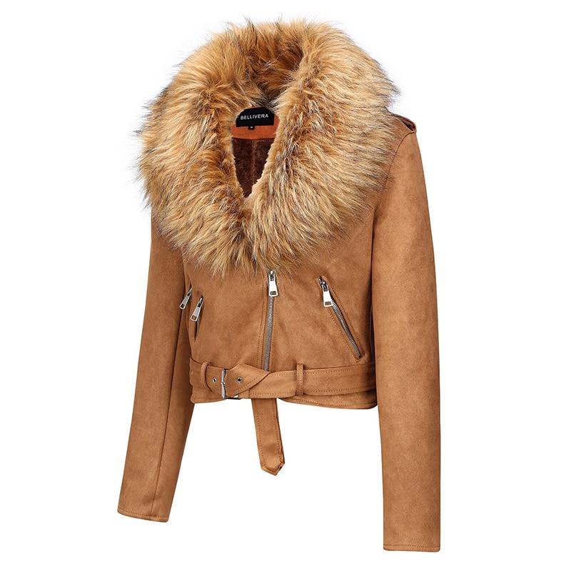 Hea537300e73c4b2497e1297c49c7be3ez Giolshon 2021 New Winter Women Thick Warm Faux Suede Jacket Coat With Belt Detachable Faux Fur Collar Leather Jackets Outwear