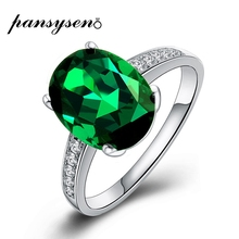 PANSYSEN Natural Emerald Rings 925 Sterling Silver Gemstone