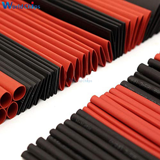 127Pcs Red Black Heat Shrink Tubing Polyolefin 2:1 Electrical Wrap Wire Cable Sleeves Insulation Shrinkable Tube Assortment Kit 5