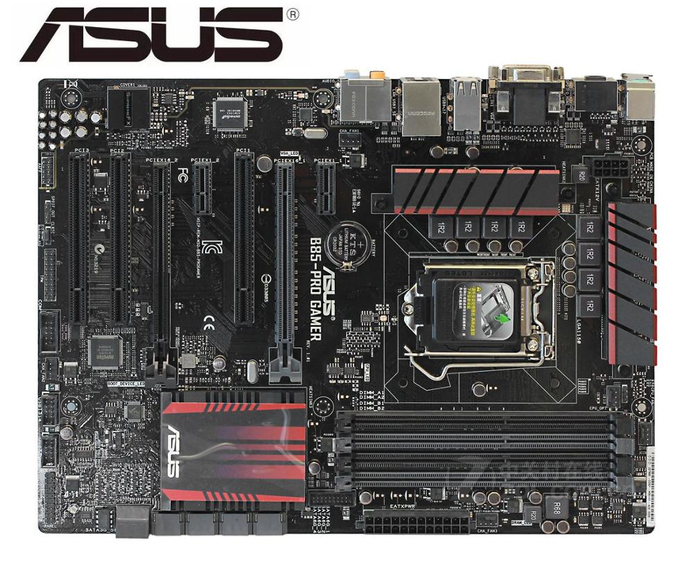 ASUS B85-PRO GAMER Original Motherboard DDR3 LGA 1150 I3 I5 I7 22nm Cpu 32GB USB2.0 USB3.0 B85 Used Desktop Mainboard  PC