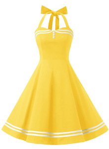 Винтажное желтое платье с лямкой на шее, сексуальное ретро платье Femme, вечернее платье рокабилли, большие качели, Vestidos, летняя одежда для жен...
