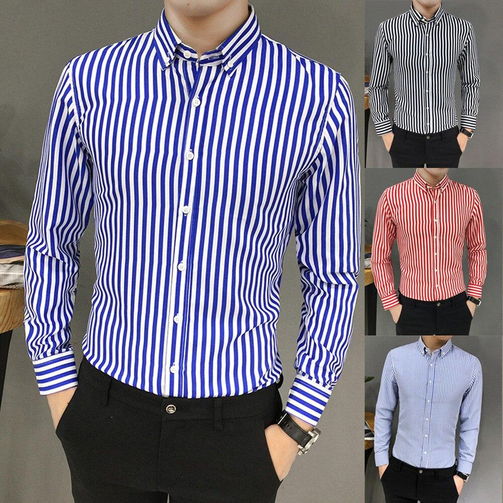 2019 Mens Shirt New Fashion Mens Suit Fit Long Sleeve Button Striped Down Dress Shirts Tops Blouse Men's Slim Shirt Top Blouse