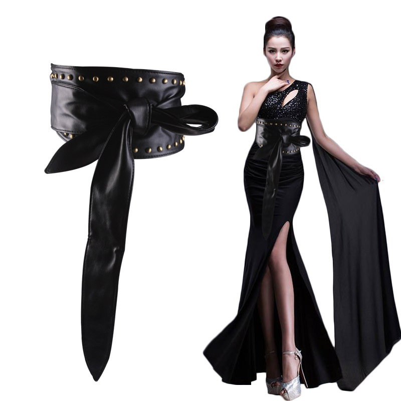2018 New Style Europe And America No Buckle Leather Belt Women's Fashion Wide Belt Versatile Decoration Girdle Bandage Cloth Riv