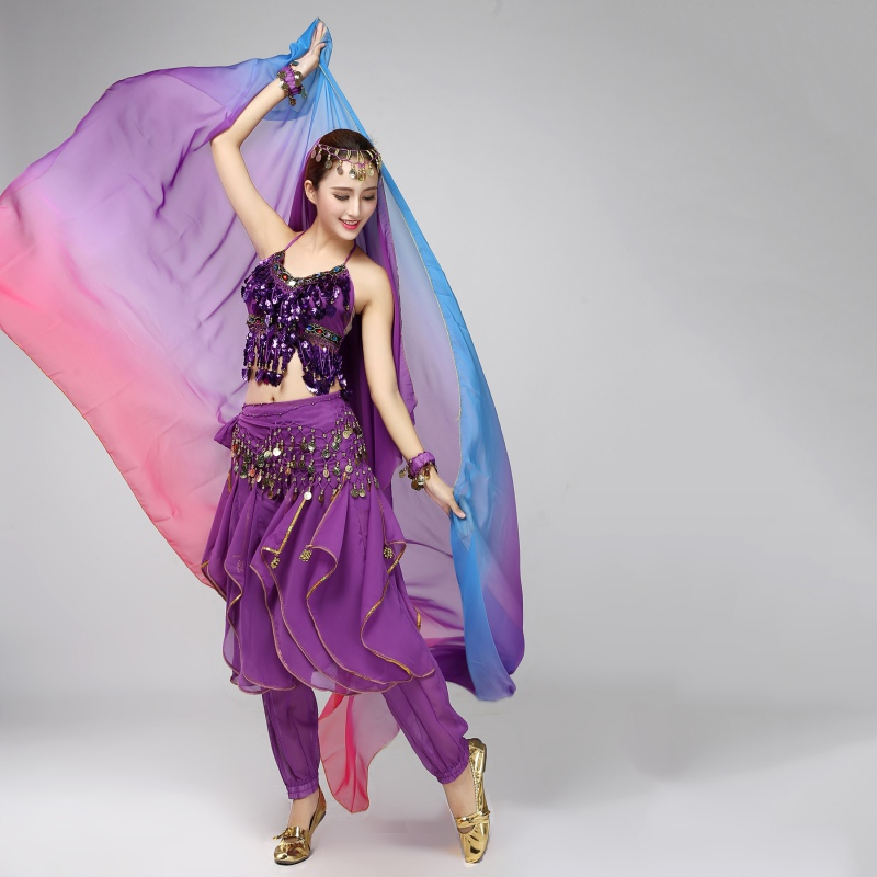 2020 Ladies Ballet Skirt Survetement Femme Women Belly Dance Gradient Silk Veil Shawl Face Scarf Bollywood Costumes