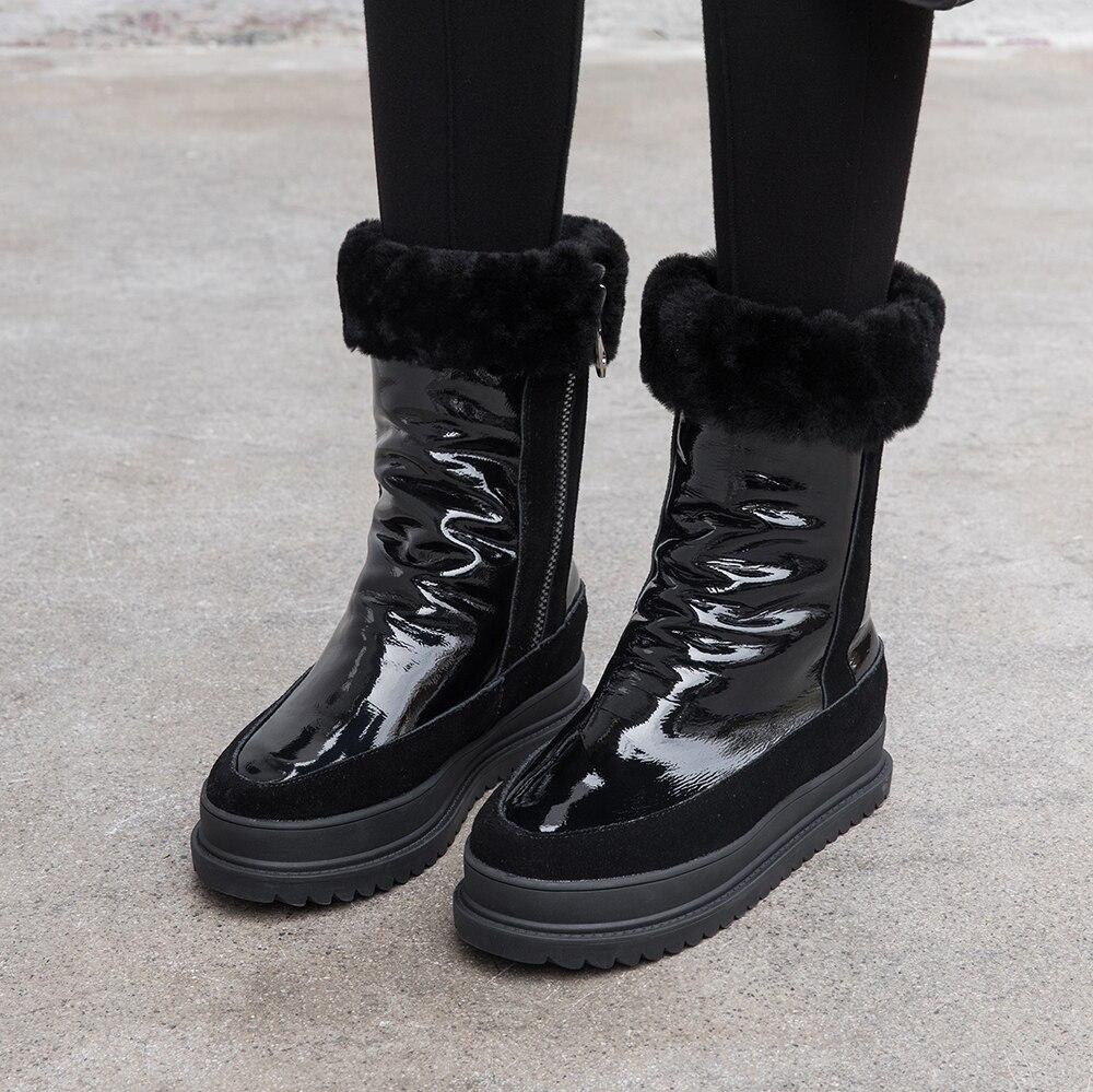 Grande taille 34 43 en cuir véritable femmes bottes d'hiver chaud en peluche fourrure bottes de neige femmes fermetures à glissière plate forme Botas Mujer chaussures de neige bottes - 2