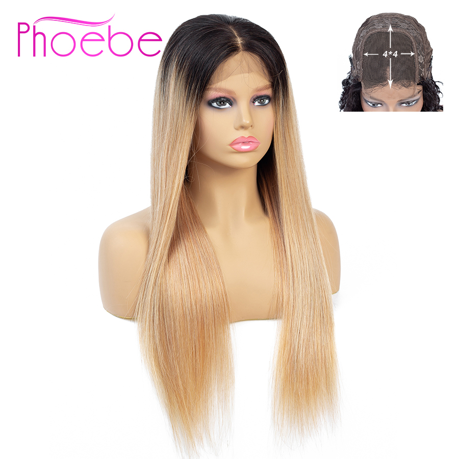 Phoebe 1B/27 4x4 Straight Ombre Lace Closure Wig Brazilian 100% Human Hair Wigs For Black Women Non-Remy 150% Density Low Ratio