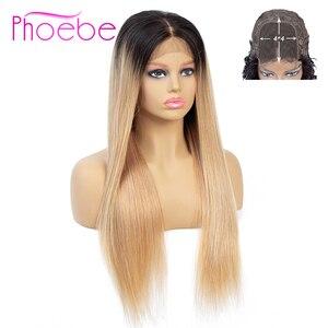 Image 1 - Phoebe 1b/27 4x4 스트레이트 옹 브르 레이스 클로저 가발 브라질 100% 인간의 머리카락 가발 흑인 여성을위한 비 레미 150% 밀도 낮은 비율