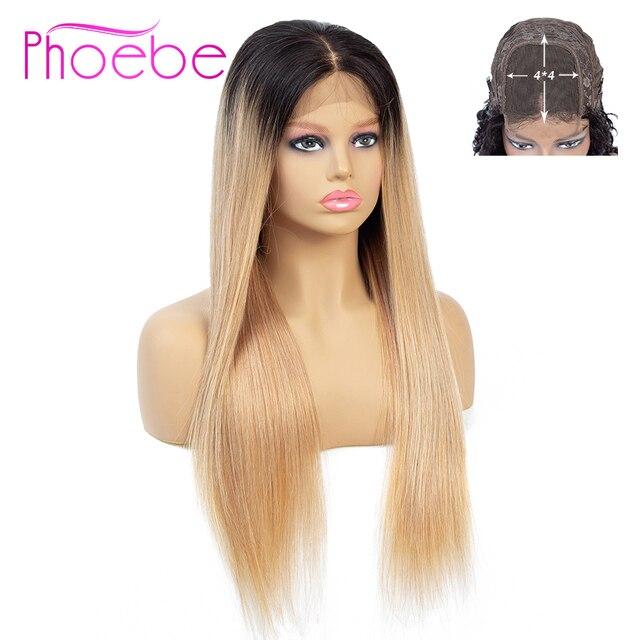 Phoebe 1b/27 4x4 스트레이트 옹 브르 레이스 클로저 가발 브라질 100% 인간의 머리카락 가발 흑인 여성을위한 비 레미 150% 밀도 낮은 비율