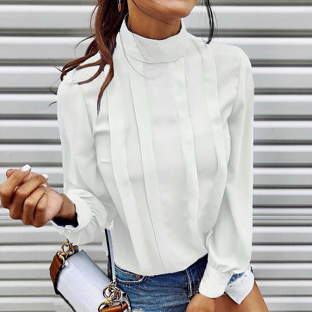 SFIT jesień moda z długim rękawem bluzka z długim rękawem koszula kobiety Sexy plisowana przycisk Blusa topy kobiece ciało stałe stań Neck urząd Lady bluzka