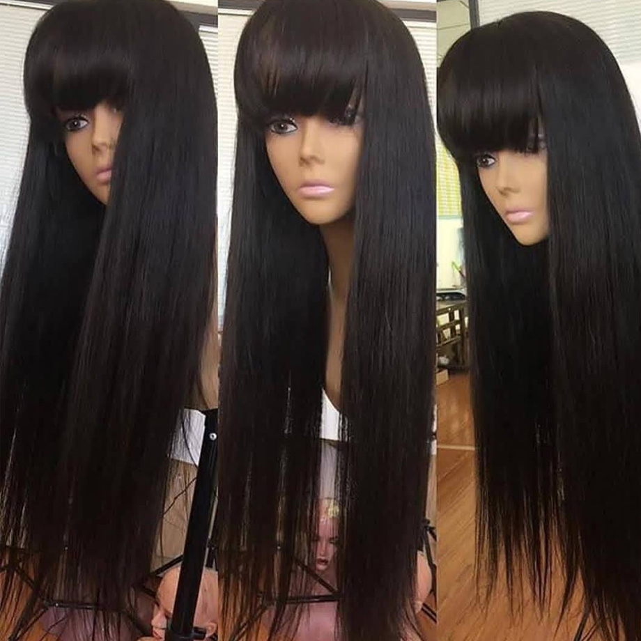 Wig With Bangs Straight Lace Front Human Hair Fringe Wigs For Black Women Brazilian Short Long Remy Natural Hair Pre Plucked