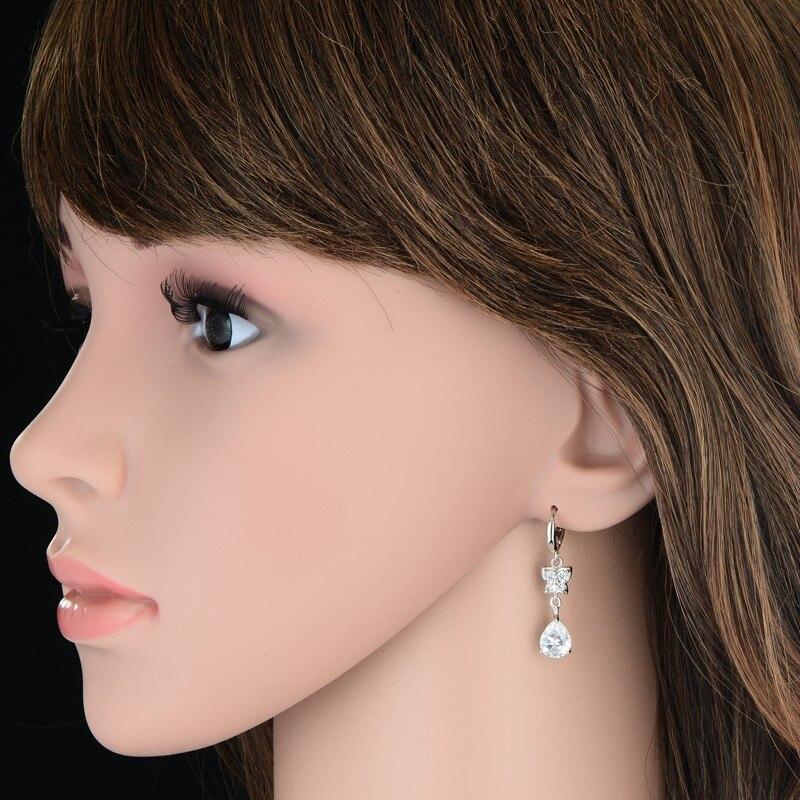 Silver Color Women Earrings CZ Crystal Water Drop Pendant Earrings for Wedding Romantic Christmas Gifts
