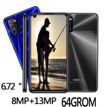 Teléfono Inteligente S21, pantalla grande de 6,72 pulgadas, 4 GB de RAM + 64 GB de ROM, cámara frontal/trasera HD de 8MP + 13MP, Android, desbloqueado facial