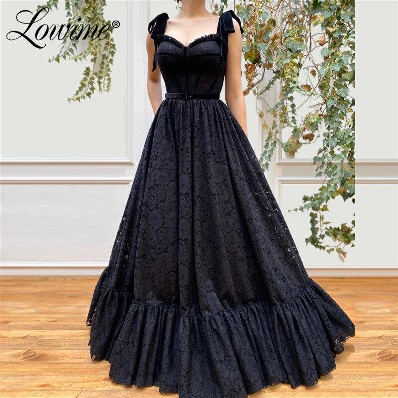 Black Lace Evening Dresses Arabic Prom Dress Long Robe De Soiree Kaftans Dubai Formal Party Gown For Weddings 2020 Abendkleider