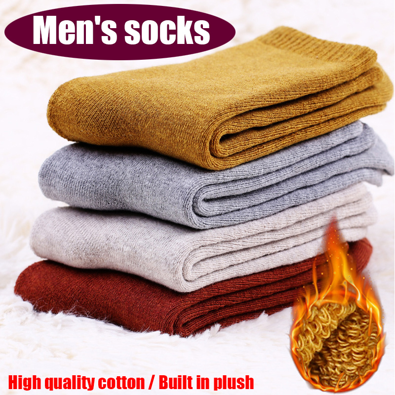 1 New Winter Thick Warm Terry Towel Men's Socks Vintage Christmas Solid Socks Color Socks Ring Socks Cotton Socks