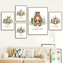 Bear Fox Deer Rabbit Forest Wall Art Canvas Painting Animal Nordic Posters And Prints Wall Pictures For Girl Boy Kids Room Decor balloon whale panda wall art canvas painting nordic posters and prints wall pictures for kids bedroom baby boy girl room decor