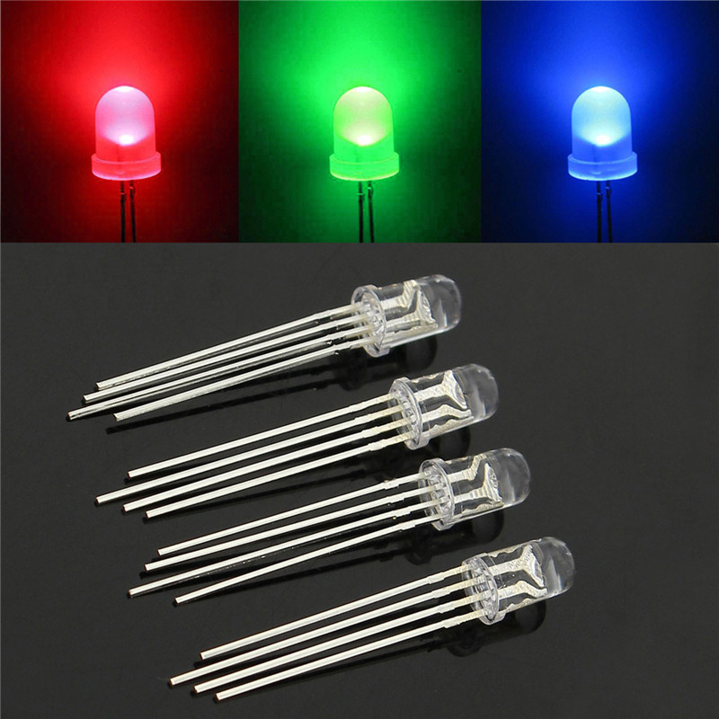 50pcs/lot Light Emitting Diode LED RGB Common Cathode 4-Pin F5 5MM Round LED Assortment Kit Green/Blue/Red