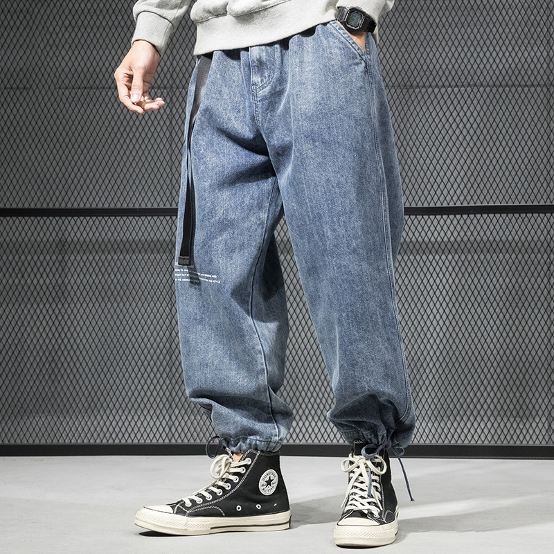 Fashion Streetwear Men Jeans Retro Blue Loose Fit Printed Designer Harem Pants Black Gray Slack Bottom Hip Hop Jeans Homme
