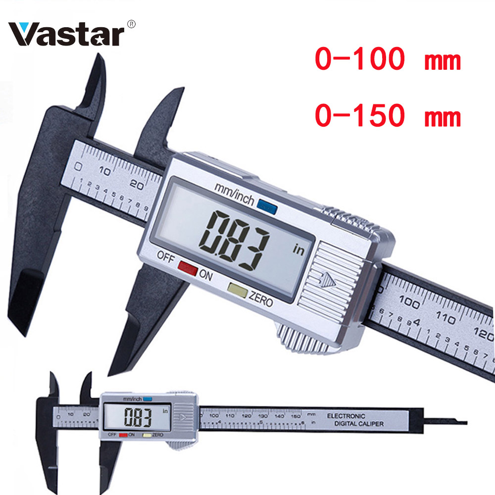 Vastar 150mm 100mm 6 Inch Electronic Digital Caliper Carbon Fiber Vernier Caliper Gauge Micrometer Measuring Tool Digital Ruler