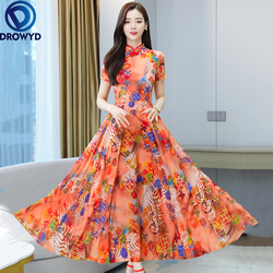 2021 принт в стиле «Бохо шифоновое пляжное платье макси летнее платье 4XL размера плюс с цветочным рисунком в винтажном стиле длинное платье дл...
