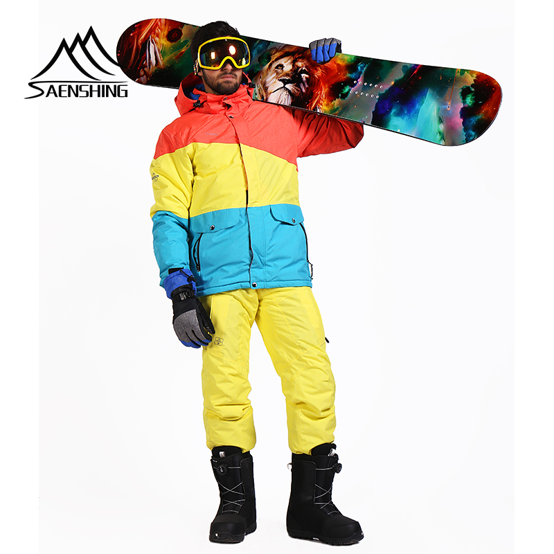 SAENSHING combinaison de ski hommes veste de ski chaude + pantalon de snowboard homme imperméable à l'eau en plein air pantalon de ski hommes hiver snowboard costume