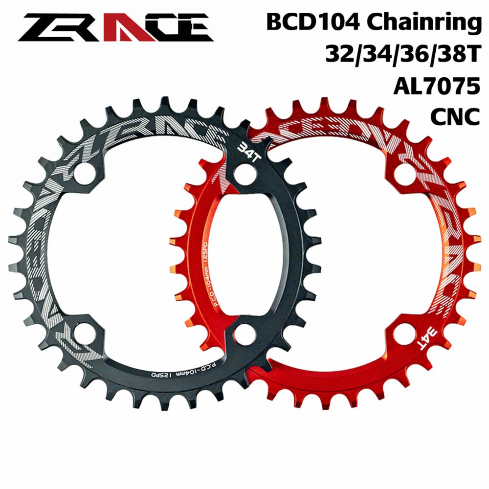 NEW ZRACE Bike Chainrings Chainwheel 32T/34T/36T/38T BCD104, Narrow Width tooth AL7075 CNC for MTB/Road Bicycle Parts