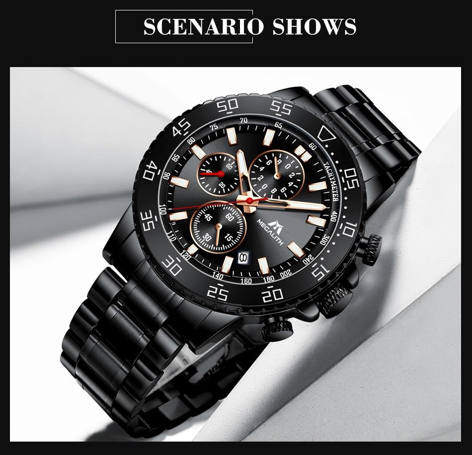 Hea546d4b660844858f7ead66a6896420i MEGALITH Watches Mens Waterproof Analogue Clock Fashion Stainless Steel Waterproof Luminous Watch Men Sports Relogio Masculino
