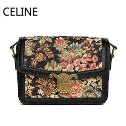 CELINE Триумфальная жаккардовая ткань сумка через плечо регулируемый кожаный ремешок металлическая застежка женские сумки через плечо 188882CKO....