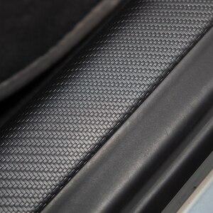 Image 5 - 4 sztuk samochodów skórzany przedni próg drzwi tylnych ochronne dla Tesla Model 3 2017 2020