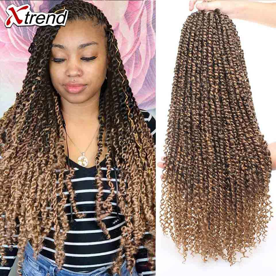 Xtrend Pre Twisted Leidenschaft Twist Synthetische Wendungen Häkeln Haar Lange Ombre Zöpfe Crotchet Braid Flauschigen Flechten 22 zoll 55,88 cm