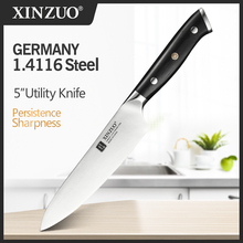 XINZUO 5 inch Utility Knife Germany 1.4116 Steel Multi Function Utility Kitchen Knives Steel Sharp Cleaver Slicing Knives