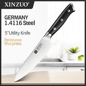 Image 1 - XINZUO cuchillo multifunción de acero, 5 pulgadas, Alemania 1,4116, cuchillos multiusos de cocina, cuchillas afiladas para cortar