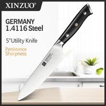 Xinzuo 5 inch inch polegada faca utilitário alemanha 1.4116 aço multi função facas de cozinha aço afiada cutelo facas corte