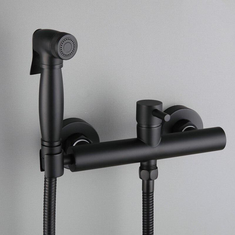 Только черный/масло втирают Бронзовый латунь холодной горячей воды кран, кран для ванной для душа ручной биде спрей с держателем