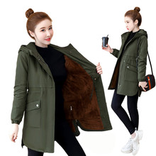 Autumn Winter Windbreaker 2019 Women Coat Thick Warm Plus Velvet Jackets Female