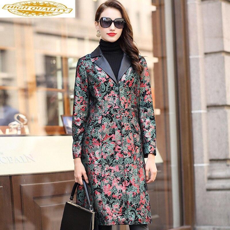Long Genuine Leather Jacket Women Spring Sheepskin Coat Print Floral Elegant Leather Jackets Coats Slim Chaqueta Mujer KJ1899