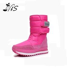 Женские модные ботинки на низком каблуке с металлической пряжкой Теплые зимние ботинки на меху Водонепроницаемая Нескользящая яркая Лыжная обувь с высоким берцем на меху