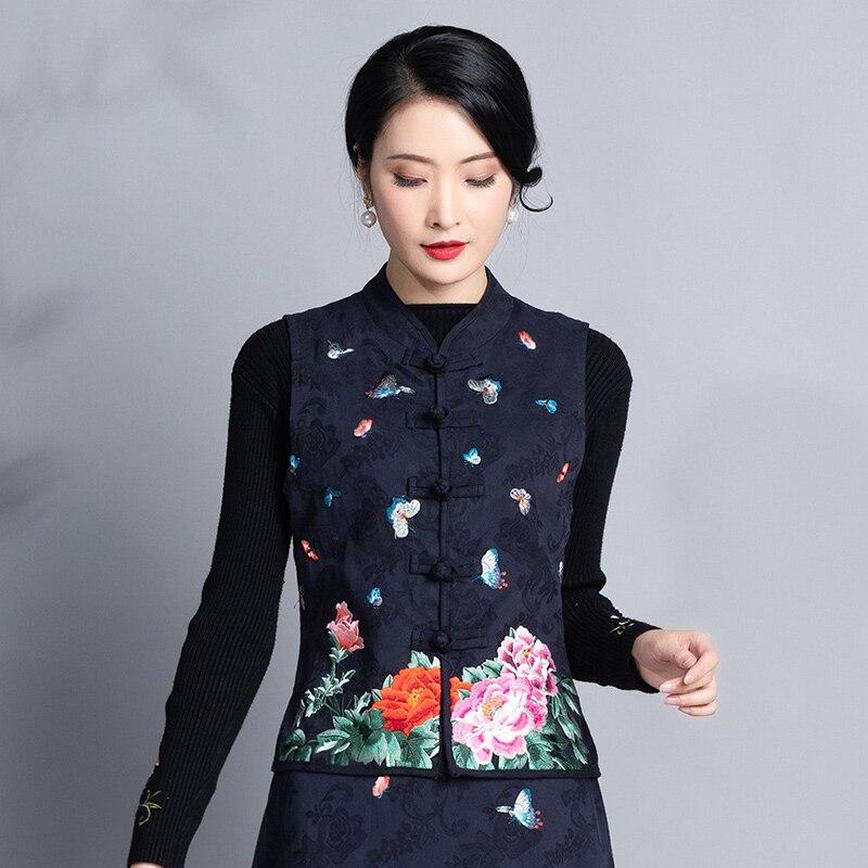 E inverno nova roupa feminina estilo étnico bordado jacquard algodão cavalo prego auto-cultivo retro-chinês casaco de cavalo